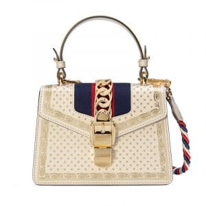 Gucci White Stars Print Sylvie Small Top Handle Bag