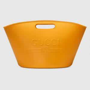 Gucci Yellow Rubber Logo Top Handle Tote Bag