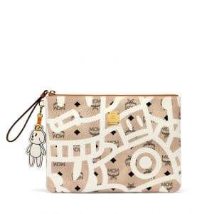 MCM x Eddie Kang Beige Loveless Top Zip Pouch with Wristlet
