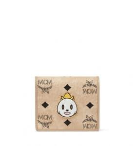 MCM x Eddie Kang Beige Loveless Visetos Two Fold Wallet