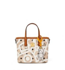 MCM x Eddie Kang Beige Mini Reversible Shopper Bag