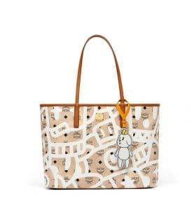 MCM x Eddie Kang Beige Reversible Shopper Bag