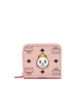 MCM x Eddie Kang Soft Pink Loveless Visetos Mini Zip Wallet
