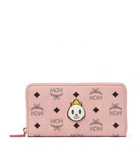 MCM x Eddie Kang Soft Pink Loveless Visetos Zip Around Wallet