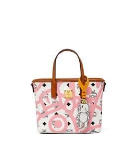 MCM x Eddie Kang White Mini Reversible Shopper Bag