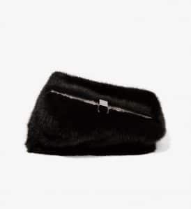 Proenza Schouler Black Mink Asymmetrical Frame Clutch Bag