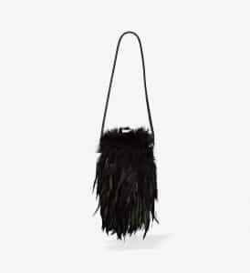 Proenza Schouler Black Mink Mini Frame Clutch with Strap
