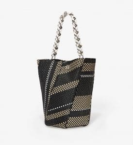 Proenza Schouler Black/White/Ecru Woven Medium Hex Bucket Bag