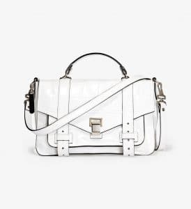 Proenza Schouler Optic White Crocodile Embossed PS1+ Medium Bag