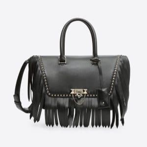 Valentino Black Fringed Demilune Small Double Handle Bag
