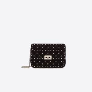 Valentino Black Velvet Rockstud Spike Small Chain Bag