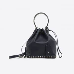 Valentino Dark Blue Rockstud Small Bucket Bag