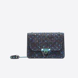 Valentino Dark Blue Swarovski Embellished Demilune Small Crossbody Bag