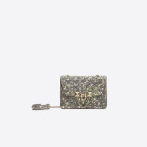 Valentino Dove Gray Swarovski Embellished Demilune Mini Crossbody Bag