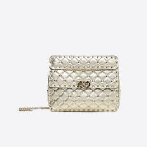 Valentino Gold Rockstud Spike Medium Chain Bag