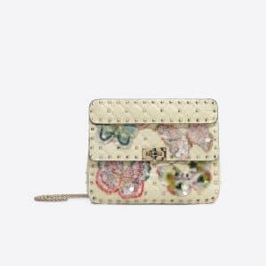 Valentino Ivory Butterfly Rockstud Spike.It Medium Chain Bag