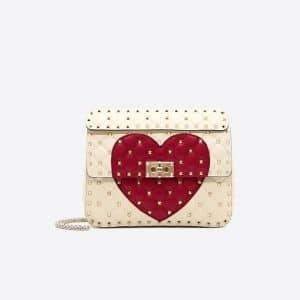 Valentino Ivory Heart Rockstud Spike.It Medium Chain Bag