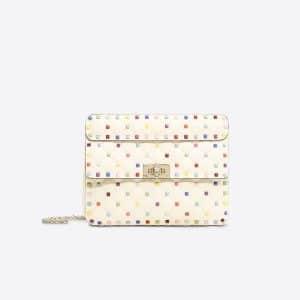 Valentino Ivory Rockstud Spike Medium Chain Bag