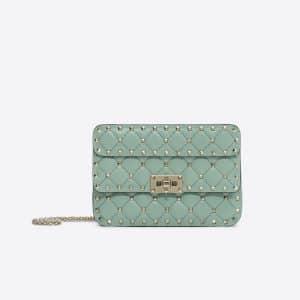 Valentino Light Green Rockstud Spike Small Chain Bag