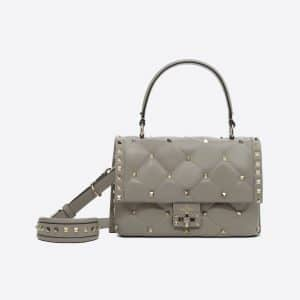 Valentino Light Grey Candystud Top Handle Bag