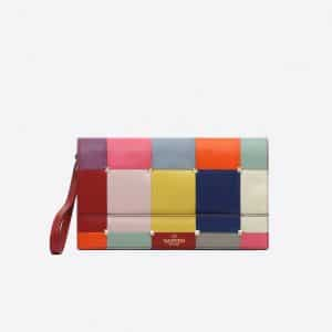 Valentino Multicolor Puzzlestud Clutch Bag