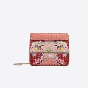 Valentino Pink Floral Rockstud Spike.It Medium Chain Bag