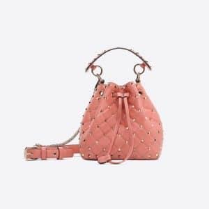 Valentino Pink Rockstud Spike Small Bucket Bag