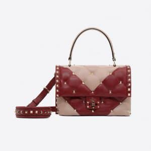 Valentino Pink/Red Candystud Top Handle Bag