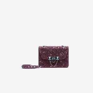 Valentino Purple Swarovski Embellished Demilune Mini Crossbody Bag