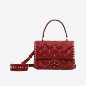 Valentino Red Candystud Top Handle Bag