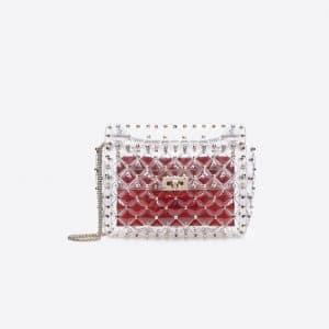 Valentino Transparent PVC Rockstud Spike Medium Chain Bag