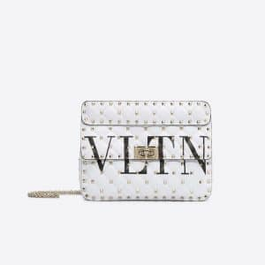 Valentino White Logo Rockstud Spike.It Medium Chain Bag
