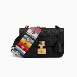 Dior Black Dioraddict Flap Bag with Multi-coloured Strap