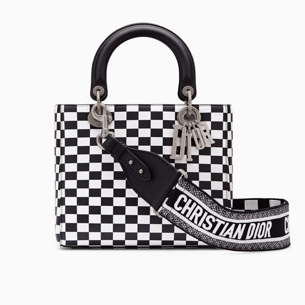 b72385d0dba6 Dior Black White Checkered Print Lady Dior Bag with Embroidered Canvas Strap