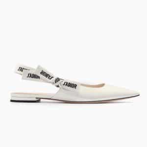 Dior White Patent J'adior Ballerina Pumps