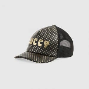 Gucci Black Guccy Print Baseball Hat