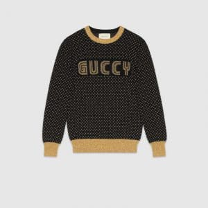 Gucci Black Guccy Print Knit Top