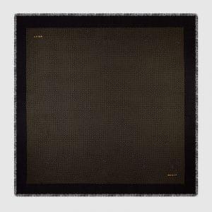 Gucci Black Guccy Print Modal Cashmere Shawl