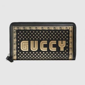 Gucci Black Guccy Print Zip Around Wallet