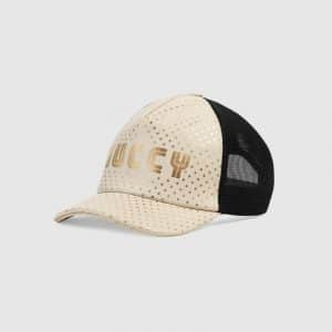 Gucci White Guccy Print Baseball Hat