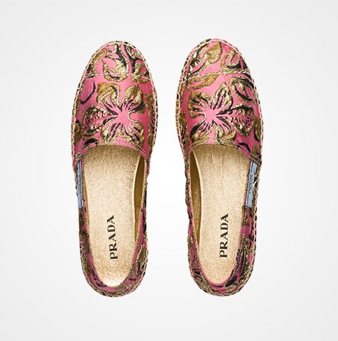 Prada Embroidered Fabric Espadrilles