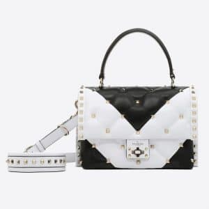 Valentino Black/White V Intarsia Candystud Top Handle Bag