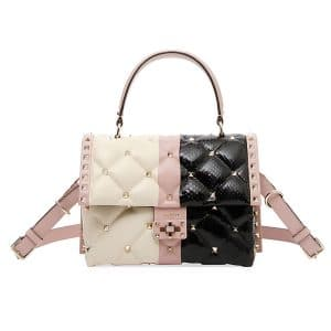 Valentino Ivory/Pink/Black Lambskin/Snakeskin Candystud Top Handle Bag