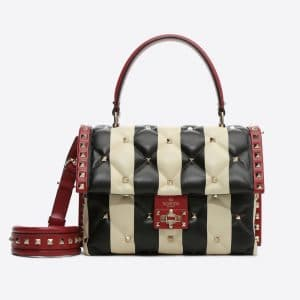 Valentino Multicolor Striped Candystud Top Handle Bag