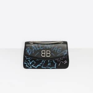 Balenciaga Black Graffiti BB Round S Bag