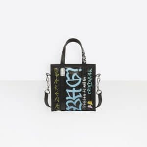 Balenciaga Black Graffiti Bazar Shopper XS Bag