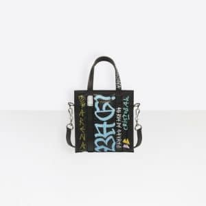 Balenciaga Black Graffiti Bazar Shopper XXS Bag