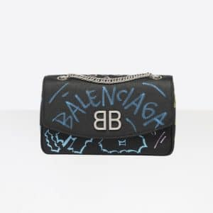 Balenciaga Black/Multicolor Graffiti BB Chain Wallet Bag