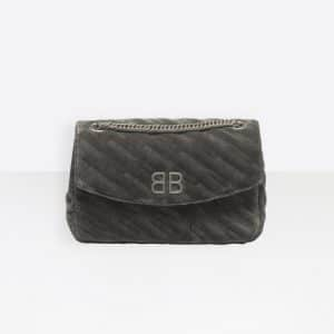 Balenciaga Elephant Quilted Velvet BB Round M Bag