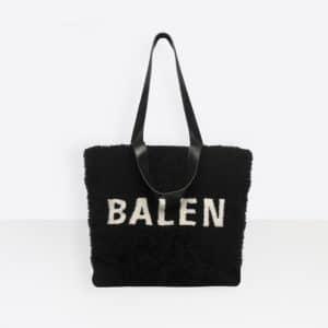 Balenciaga Gris Crayon/Rouge Shearling Tote M Bag